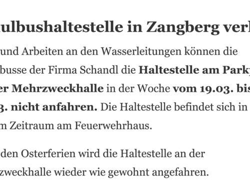 Zangberg – Schulbushaltestelle verlegt