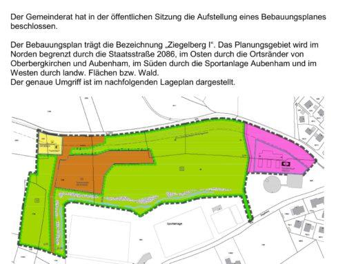 """Bekanntmachung zum Bebauungsplan """"Ziegelberg I"""""""