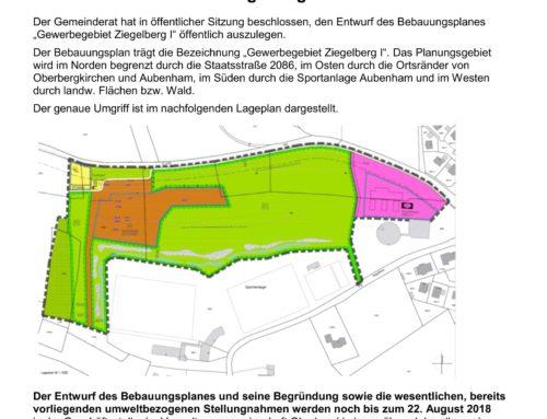 Bekanntmachung Gewerbegebiet Ziegelberg