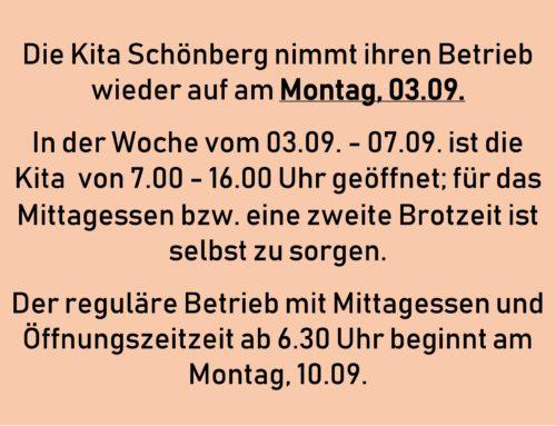 Betriebszeiten Kita Schönberg in den Ferien