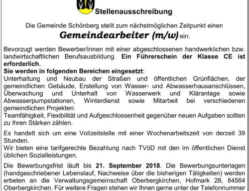 Stellenanzeige Gemeinde Schönberg, Gemeindearbeiter(in)