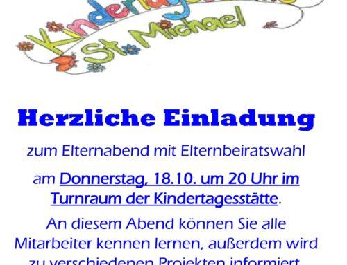 Einladung Kita St. Michael Schönberg Elternabend