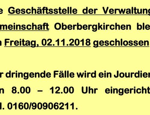 Verwaltung am 02. November 2018 geschlosssen