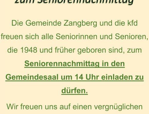 Einladung zum Seniorennachmittag in Zangberg