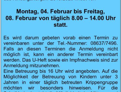 Anmeldung für die Kita St. Martin in Oberbergkirchen