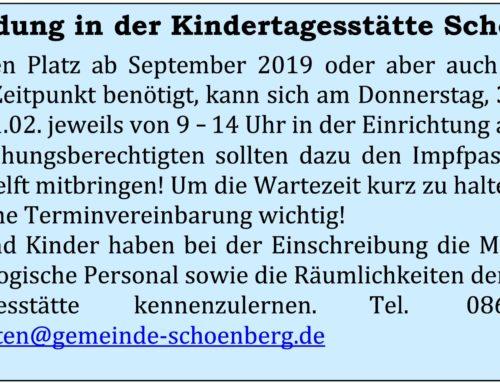 Anmeldung Kita Schönberg St. Michael