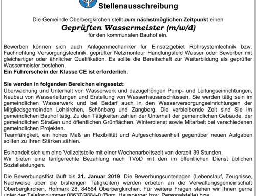 Stellenausschreibung-Wassermeister-Gemeinde Oberbergkirchen