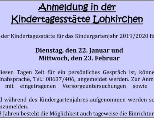 Anmeldung für die Kindertagesstätte Lohkirchen 2019/2020