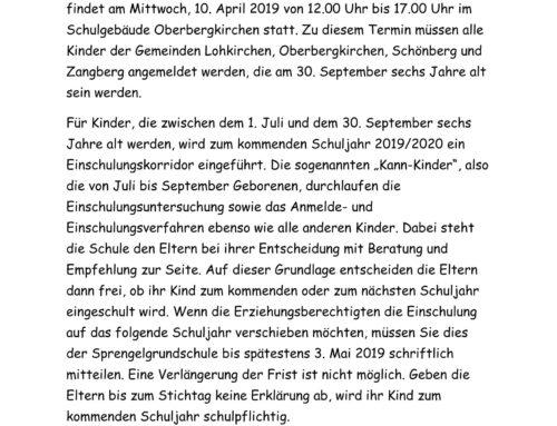 Schuleinschreibung an der Grundschule Oberbergkirchen
