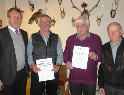 CSU Lohkirchen ehrte langjährige Mitglieder