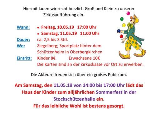 Zirkusaufführung der Grundschule Oberbergkirchen und des Hauses der Kinder St. Martin