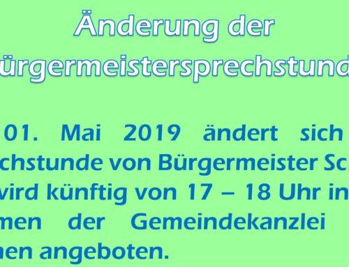 Änderung der Sprechstunde von Bürgermeister Schick in Lohkirchen