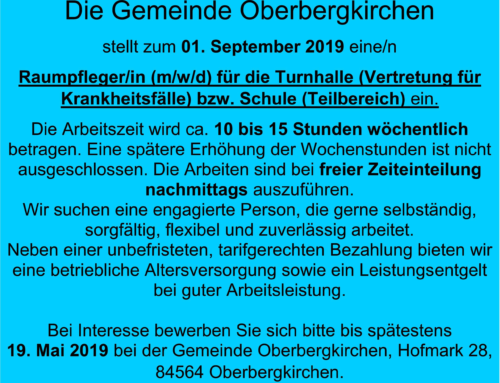 Stellenausschreibung Raumpfleger/in Schule Oberbergkirchen