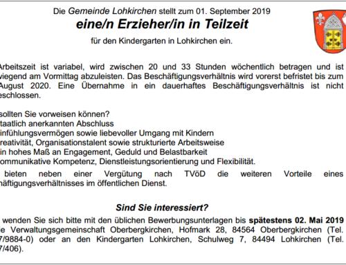 Stellenausschreibung: Erzieher/in für Kindergarten Lohkirchen