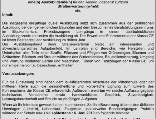 Stellenausschreibung zum Straßenwärter/in der VG Oberbergkirchen