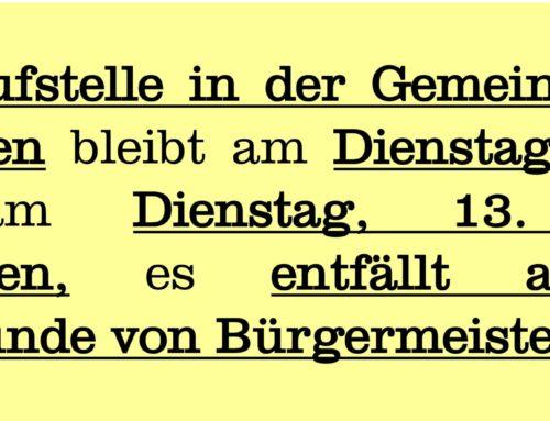 Gemeindekanzlei Lohkirchen bleibt geschlossen