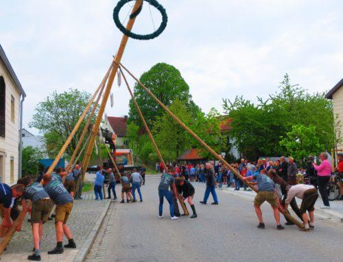 Oberbergkirchens Dorfmitte ziert neuer Maibaum