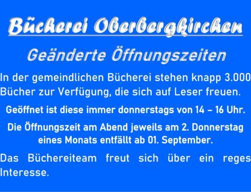 Geänderte Öffnungszeiten in der Bücherei Oberbergkirchen