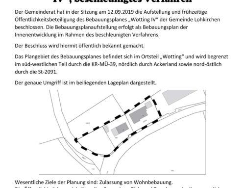 Gemeinde Lohkirchen hat Bebauungsplan Wotting IV beschlossen