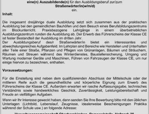 Stellenausschreibung Azubi Straßenwärter/in VG Oberbergkirchen