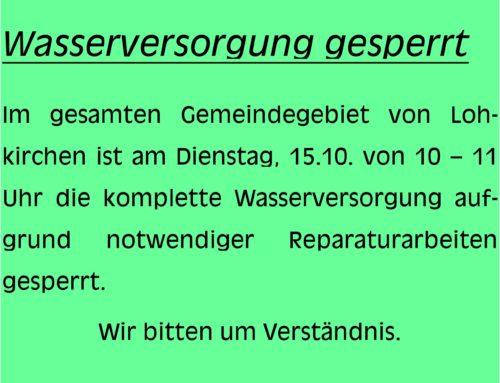 Wasserversorgung unterbrochen am 15.10.