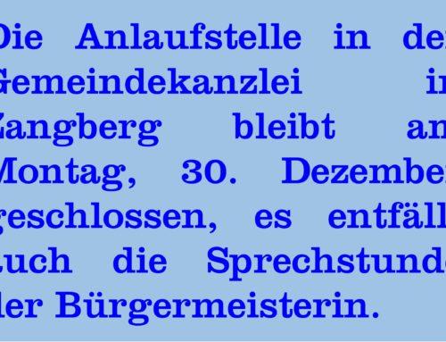 Anlaufstelle Gemeindekanzlei Zangberg bleibt geschlossen