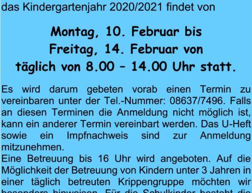 Anmeldung für das Haus der Kinder St. Martin in Oberbergkirchen