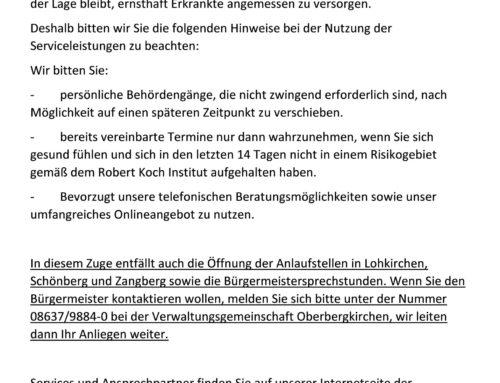 Aktuelle Maßnahmen der VG Oberbergkirchen