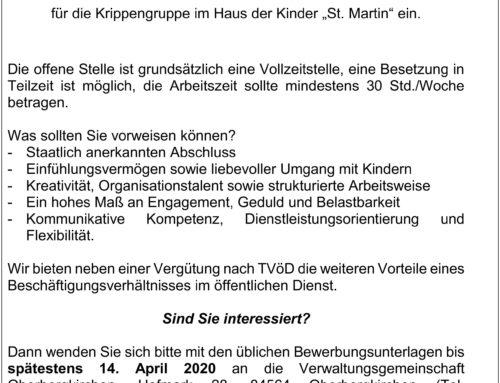 Stellenausschreibung im Haus der Kinder, Oberbergkirchen