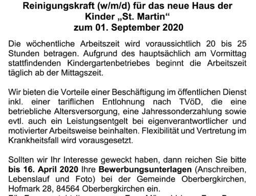 Stellenausschreibung Reinigungskraft Haus der Kinder Oberbergkirchen