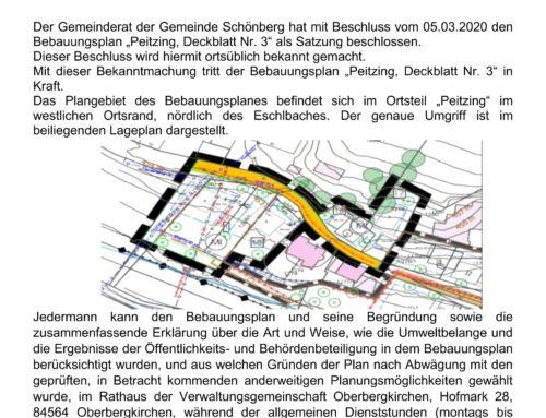 Bekanntmachung zum Bebauungsplan Peitzing