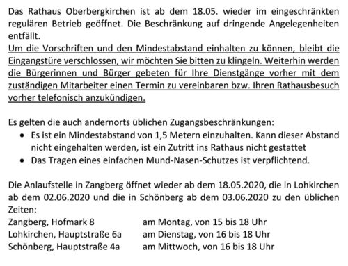 Betrieb im Rathaus – Regelung ab dem 18.05.2020
