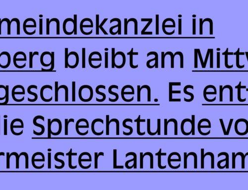 Gemeindekanzlei Schönberg bleibt am 22.07.2020 geschlossen