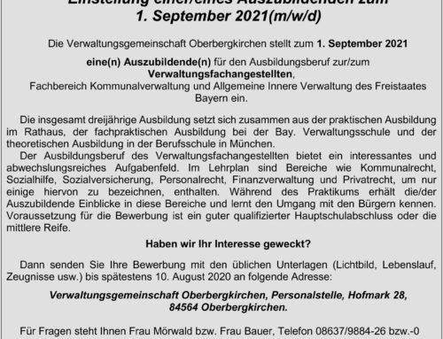 Stellenausschreibung eines/einer Auszubildenden der VG Oberbergkirchen
