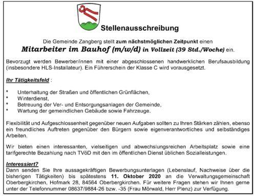 Stellenausschreibung der Gemeinde Zangberg
