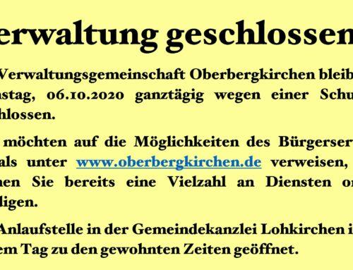 Verwaltung bleibt am 06.10.2020 geschlossen