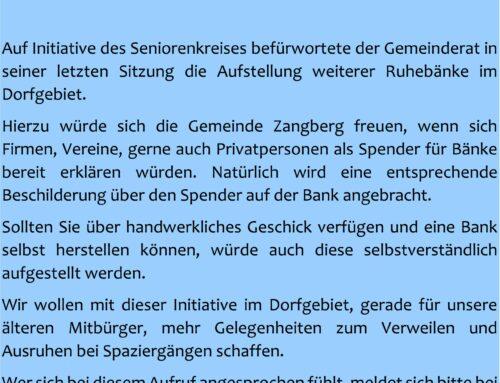 Spendenaufruf für Bankerl im Dorfgebiet Zangberg