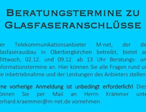 Infotermine zu Glasfaseranschlüsse in der Gemeinde Oberbergkirchen