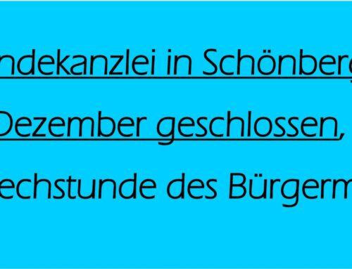 Gemeindekanzlei Schönberg am 30. Dezember geschlossen
