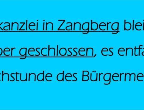 Gemeindekanzlei in Zangberg am 28. Dezember geschlossen