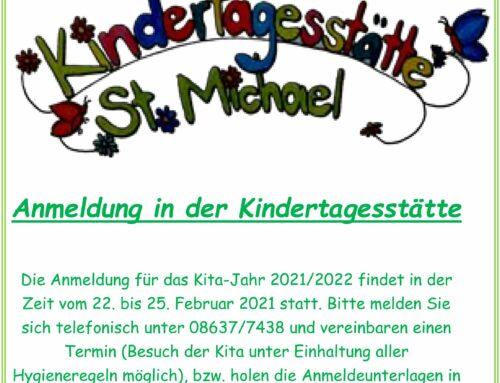 Anmeldung für die Kindertagesstätte St. Michael in Schönberg für das Kita-Jahr 2021/22