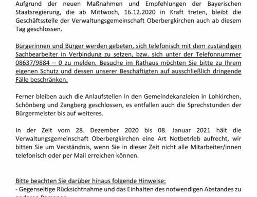 Gemeindekanzlei Lohkirchen vorläufig geschlossen