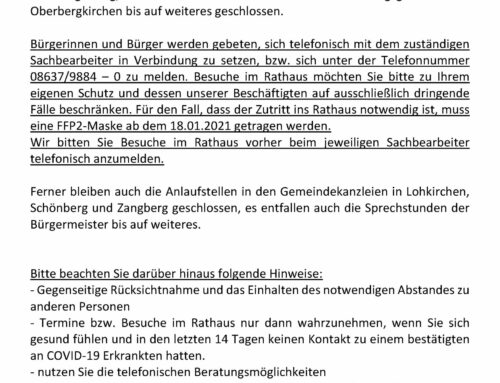 Geschäftsstelle der VGem Oberbergkirchen ab 16.12.2020 geschlossen