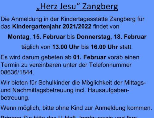 Anmeldung für die Kindertagesstätte Herz Jesu in Zangberg