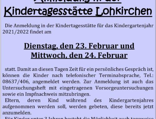 Anmeldung für die Kindertagesstätte Lohkirchen, Kita-Jahr 2021/22