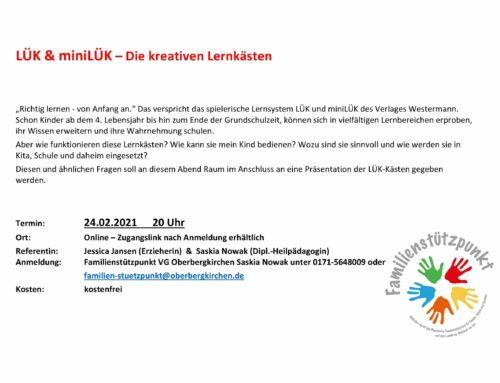 Onlinepräsentation zu kreativen Lernkästen durch den Familienstützpunkt der VGem Oberbergkirchen