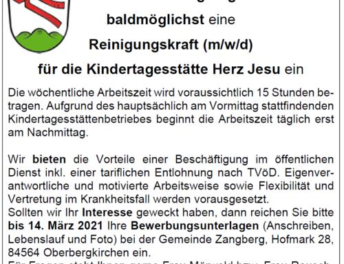 Stellenausschreibung Reinigungskraft Kindertagesstätte Zangberg