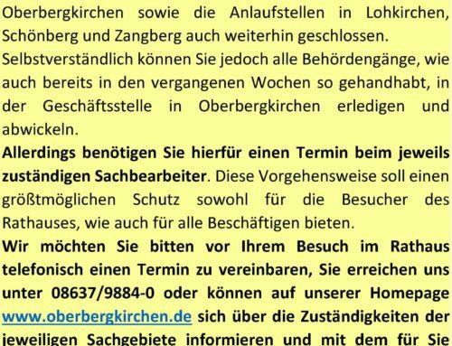 Informationen zur Erledigung von Angelegenheiten in der VGem Oberbergkirchen zu Corona-Zeiten