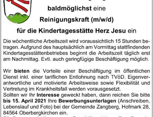 Reinigungskraft für Kindertagesstätte Herz Jesu in Zangberg gesucht