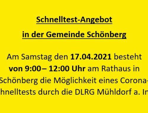 Schnelltest-Angebot Gemeinde Schönberg am Samstag, 17.04.2021